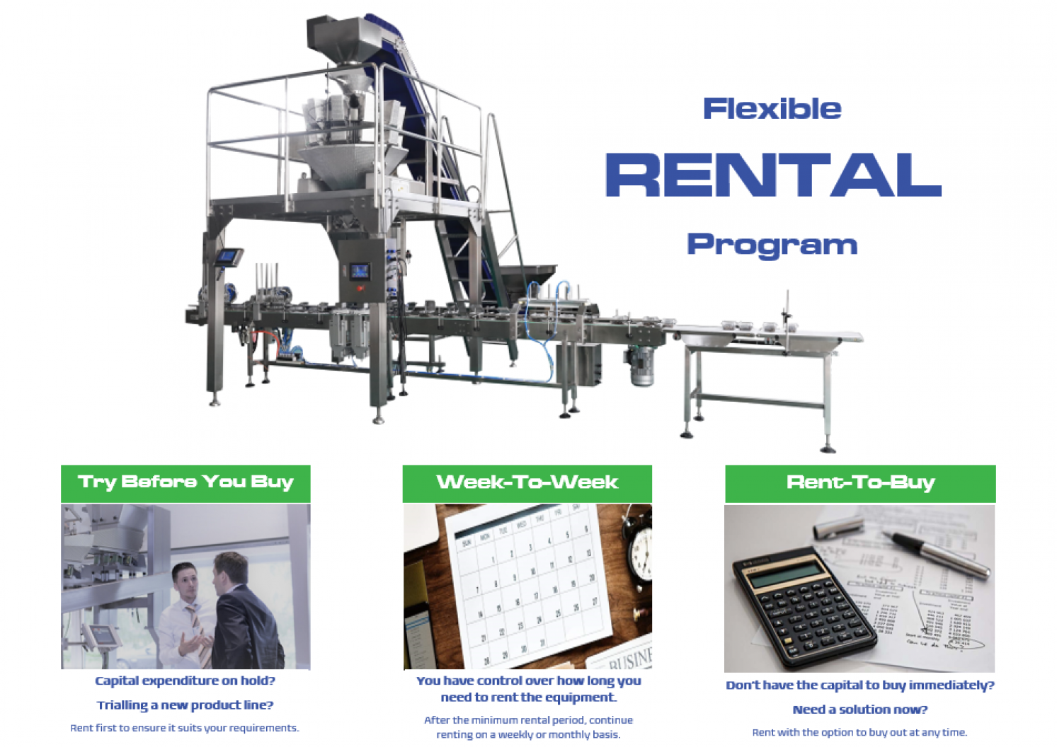 Proquip Solutions Flexible Rental Program for Process and Packaging Equipment